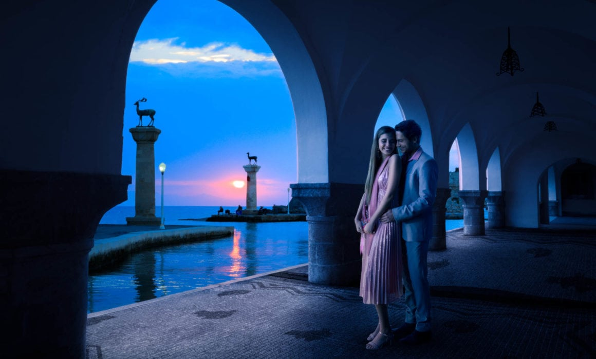 Couple-embrace-mandraki-harbour-rhodes-commercial-lifestyle-photographer