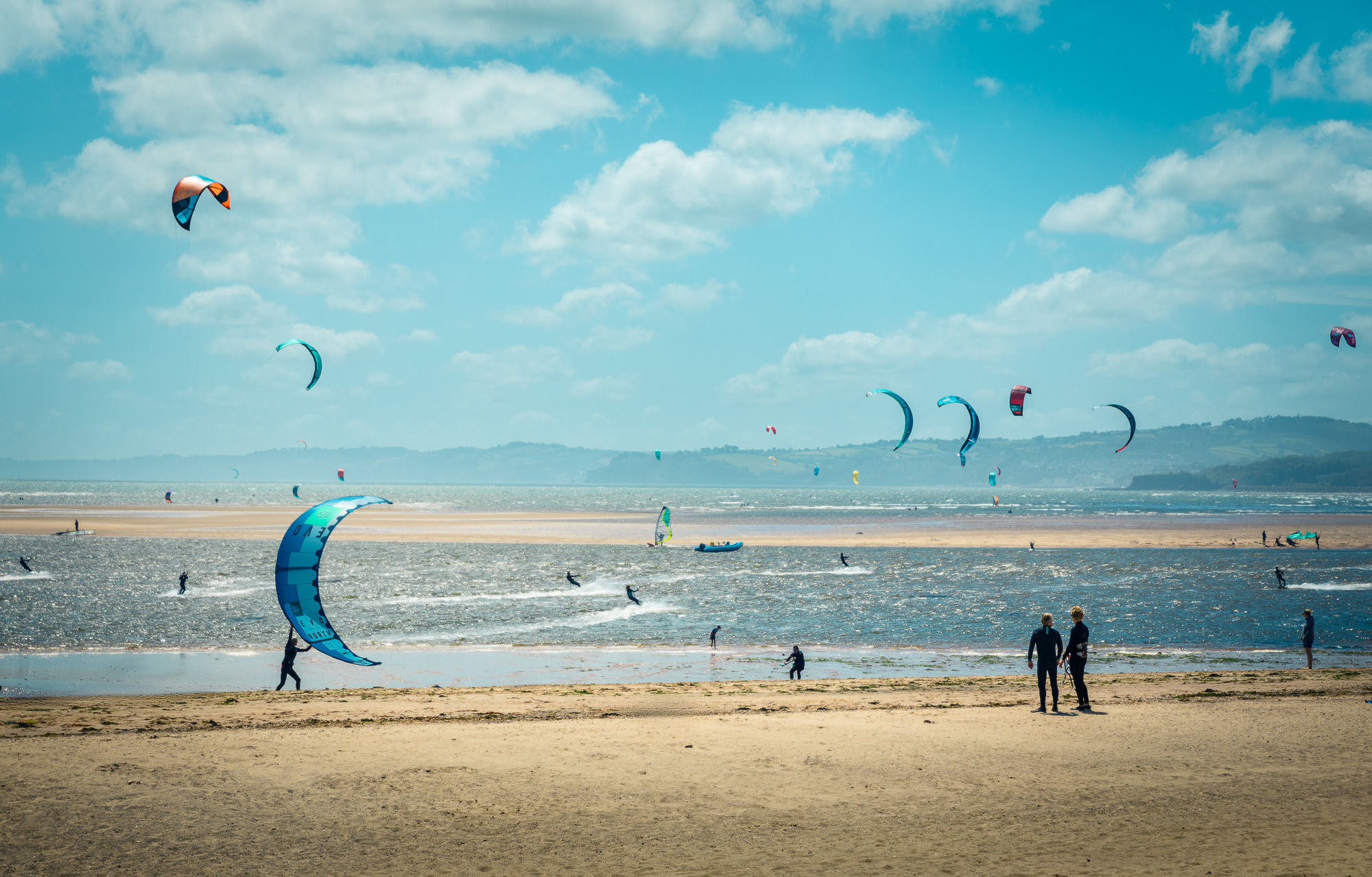Kite Surfers On Summers Day Exmouth Devon